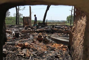 This March 2 photo shows the ruins of the Hindu neighbourhood of Dhopapara in Banshkhali, Chittagong after the belligerent activists and supporters of Jamaat-e-Islami and Islami Chhatra Shibir torched all houses and a temple there on February 28.