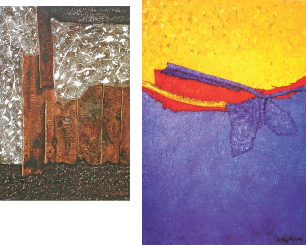 (Left)Sarkar Nahid Niazi, Wood composition 4, acrylic on canvas, 2012. (Right) Kazi Syed Ahmed, Reconstuction 5, acrylic and sack on board, 2012.