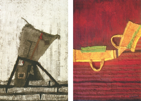 Kazi Syed Ahmed, Reconstruction 3, acrylic and sack on board, 2012. (Right) Kazi Syed Ahmed, Reconstruction 10, acrylic and sack on board, 2012.