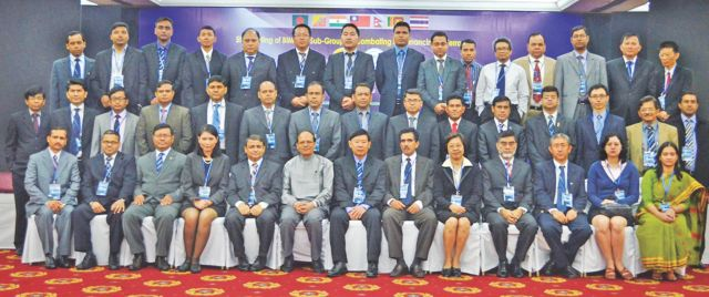 Bangladesh Bank Governor Atiur Rahman poses with other participants of the fifth Bimstec sub-group meeting on combating financing of terrorism, at Ruposhi Bangla Hotel in Dhaka yesterday. Photo: Bangladesh Bank