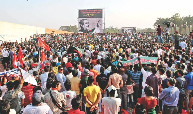 The youth-powered Gonojagoron Mancha organises a rally at the Suhrawardy Udyan in Dhaka yesterday to mark the historic March 7. Bangabandhu Sheikh Mujibur Rahman on this day in 1971 delivered his famous speech at this venue, then Racecourse Maidan.  Photo: Anisur Rahman