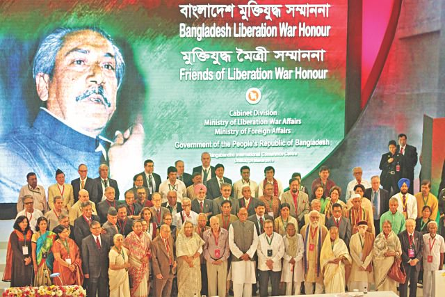 "Bangladesh government honours foreign friends with ""Bangladesh Liberation War Honour"" in the Bangabandhu International Convention Centre in the capital yesterday. photo: star"