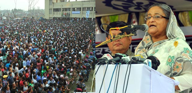Prime Minister Sheikh Hasina addresses a rally in Brahmanbaria Sadar upazila on Monday. Photo: PMO
