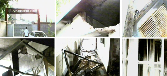 Glimpses of the almost destroyed premises of a medicine factory where criminals vandalised and torched valuables using gunpowder in Fakirhat of Bagerhat early Friday. Photo: TV grab