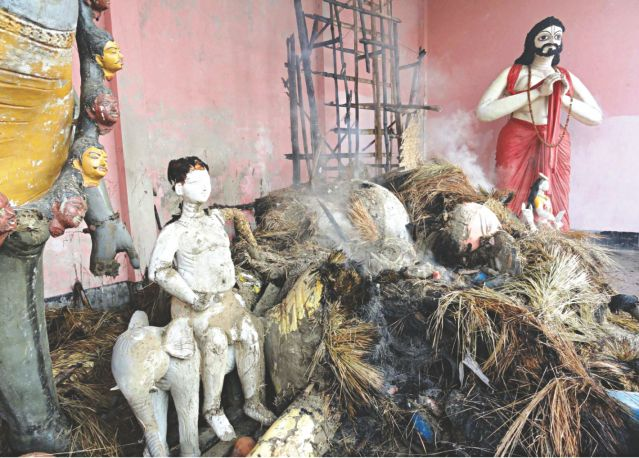 Remains of a Hindu temple that came under attack by unidentified arsonists at Bhuapur upazila in Tangail yesterday. Photo: Star