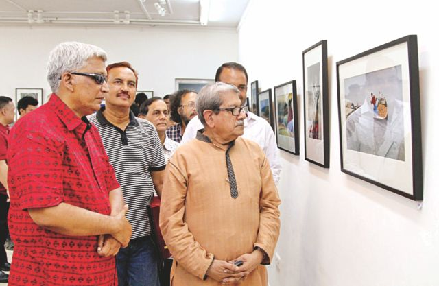 Professor Anisuzzaman (R) at the exhibition. Photo: ATL Aakash