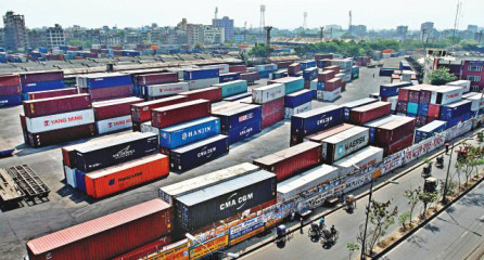 Hardly any activity is seen at the otherwise busy Inland Container Terminal at Kamalapur in the capital during the March 28 shutdown. In March, Jamaat-e-Islami and the BNP-led 18-party opposition alliance had enforced hartals on nine days, the same number of workdays the country had in the month. All this hurts the economy, especially the export-import sector. Photo: Anisur Rahman