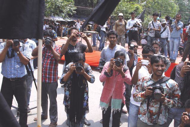 Women journalists work just as hard as their male colleagues.  Photo: Prabir Das