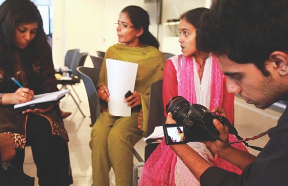 Volunteers from the department of media and communication getting ready to take video interviews. Photo: Kazi Tahsin Agaz Apurbo