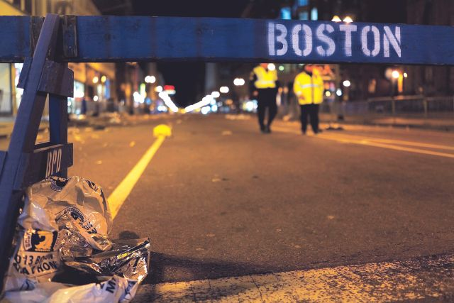 Site of the Boston Marathon where mayhem broke out after two bomb blasts. Photo: AFP