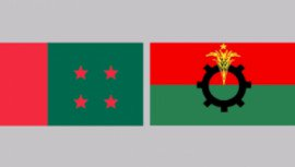 Flag of Awami League and BNP