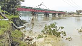 Tangail rail bridge at risk