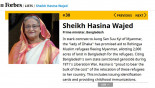 Hasina 30th on Forbes' Power Women list