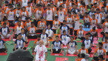 Modi braves rain for Yoga Day