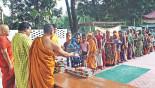 Buddhist monks spreading harmony offering Iftar
