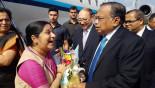 Sushma Swaraj arrives in Dhaka