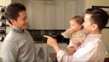 Baby adorably befuddled by dad's twin