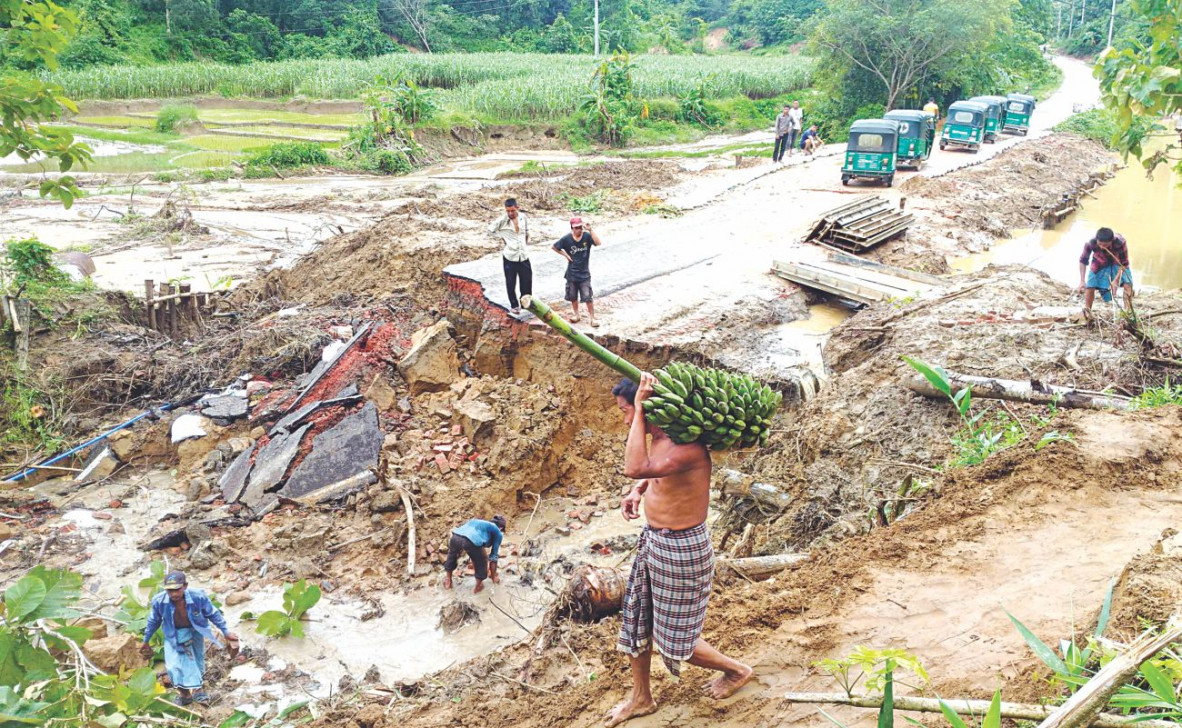 Incessant rain for the last three days has made life miserable in the district. Photo: Anvil Chakma, Mohammad Ali Jinnat