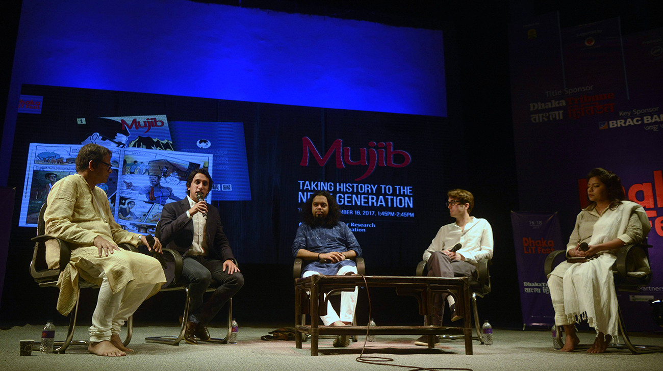 "After successful publications of the graphic novel on Bangabandhu Sheikh Mujibur Rahman in Bangla, the English version of the first part of the novel series ""Mujib"" is unveiled at the Dhaka Lit Fest at Bangla Academy in Dhaka."