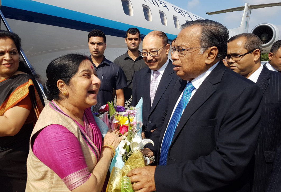 EAM Sushma Swaraj on a 2-day visit to Bangladesh