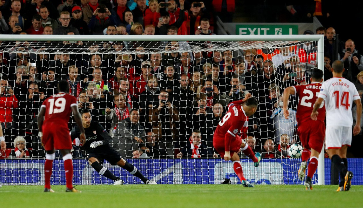 Liverpool's Roberto Firmino misses the penalty