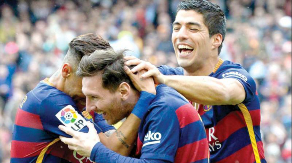 Messi Neymar and Suarez celebrate a goal against Espanyol