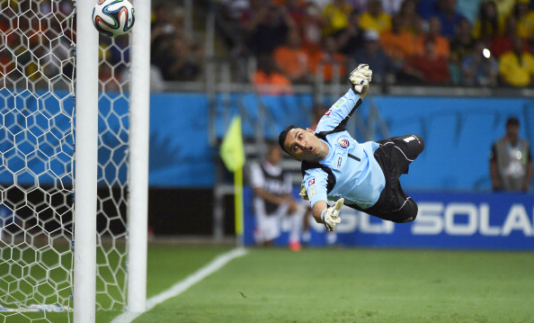 Costa Rica's goalkeeper Keylor Navas dives for the ball during their quarter-final match with Netherlands at Arena Fonte Nova on July 5, 2014 in Salvador, Brazil. Photo: Getty Images