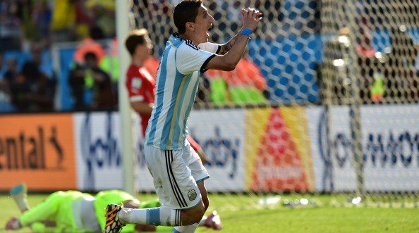 Argentina midfielder Angel Di Maria celebrates after scoring the lone goal during a Round of 16 match against Switzerland at Corinthians Arena in Sao Paulo during the 2014 FIFA World Cup on July 1, 2014. Photo: Getty Images