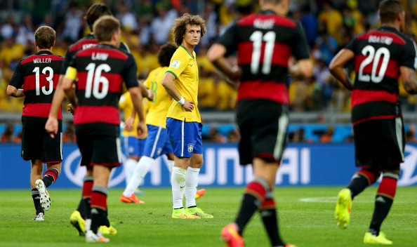 David Luiz of Brazil shows his dejection after conceding fourth goal to Germany during their FIFA World Cup semi-final on July 8, 2014 in Belo Horizonte, Brazil. Photo: Getty Images