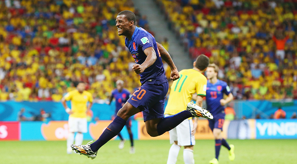 Georginio Wijnaldum of the Netherlands celebrates scoring his team's third goal during their World Cup third place play-off match against Brazil at the National Stadium in Brasilia on July 12, 2014. Photo: Getty Images
