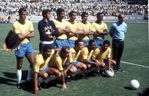 1970 World Cup Semi-Final, Guadalajara, Mexico, 17th June, 1970, Brazil 3 v Uruguay 1, The Brazilian team line up before their match with Uruguay Photo: Getty Images