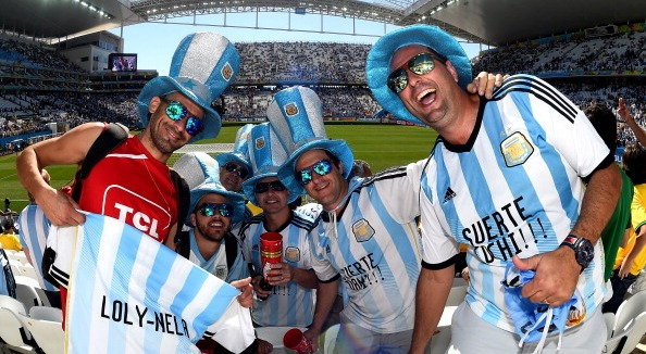 Argentina fans pose prior to the 2014 FIFA World Cup Brazil Round of 16 match between Argentina and Switzerland at Arena de Sao Paulo on July 1, 2014 in Sao Paulo, Brazil. Photo: Getty Images