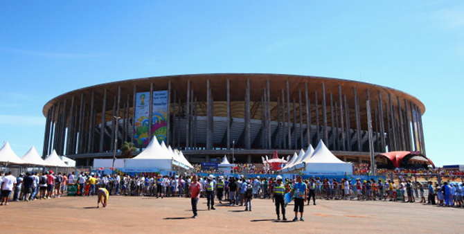 A general view outside the stadium prior to the 2014 FIFA World Cup Brazil Quarter Final match between Argentina and Belgium at Estadio Nacional on July 5, 2014 in Brasilia, Brazil. Photo: Getty Images
