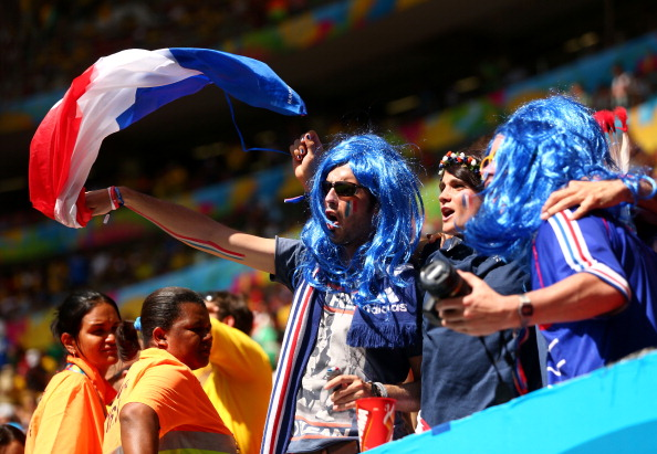 France fans enjoy the atmosphere prior to the 2014 FIFA World Cup Brazil Round of 16 match between France and Nigeria at Estadio Nacional on June 30, 2014 in Brasilia, Brazil. Photo: Getty Images