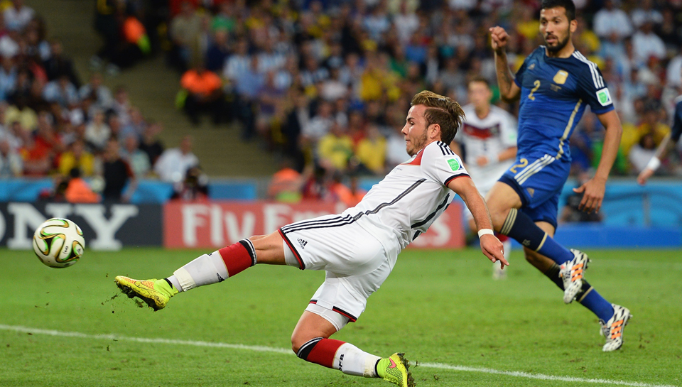 Mario Goetze of Germany scores his team's first goal in extra time during the 2014 FIFA World Cup Brazil Final match between Germany and Argentina at Maracana on July 13, 2014 in Rio de Janeiro, Brazil. Photo: Getty Images