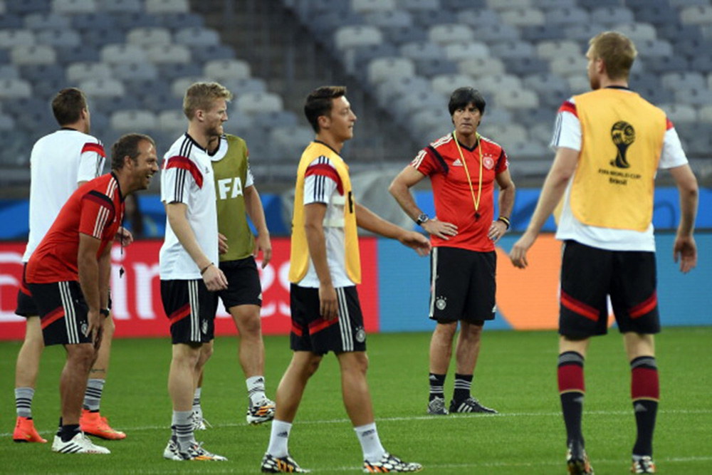 Germany's coach Joachim Low supervises Germany's practice session at The Mineirao Stadium in Belo Horizonte on July 7, 2014 on the eve of their 2014 FIFA World Cup semi-final against Brazil. Photo: Getty Images