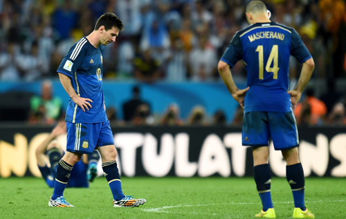 Lionel Messi of Argentina reacts after the 0-1 defeat in the 2014 FIFA World Cup Brazil Final match between Germany and Argentina at Maracana on July 13, 2014 in Rio de Janeiro, Brazil. Photo: Getty Images