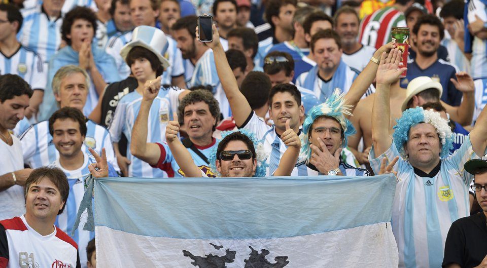 Fans of Argentina react before the 2014 FIFA World Cup final football match between Germany and Argentina at the Maracana Stadium in Rio de Janeiro on July 13, 2014. Photo: Getty Images