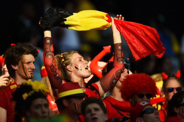 A Belgium fan looks on prior to the 2014 FIFA World Cup Brazil Round of 16 match between Belgium and the United States at Arena Fonte Nova on July 1, 2014 in Salvador, Brazil. Photo: Getty Images