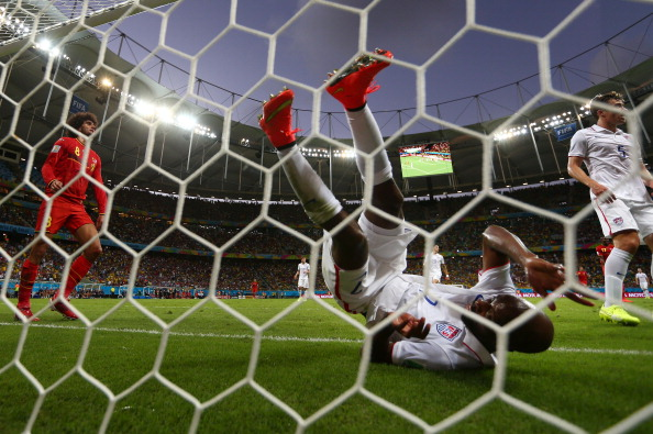 DaMarcus Beasley of the United States falls into the net after clearing the ball off the line during the 2014 FIFA World Cup Brazil Round of 16 match between Belgium and the United States at Arena Fonte Nova on July 1, 2014 in Salvador, Brazil. Photo: Getty Images