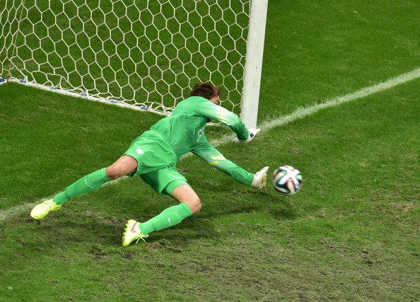 Netherlands' goalkeeper Tim Krul makes a save during the penalty shout out of a quarter-final football match between Netherlands and Costa Rica at the Fonte Nova Arena in Salvador during the 2014 FIFA World Cup on July 5, 2014. Photo: Getty Images
