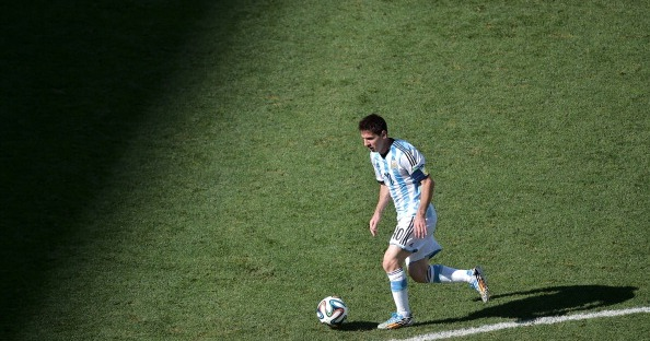 Argentina's forward and captain Lionel Messi controls the ball during the second half of a Round of 16 football match between Argentina and Switzerland at Corinthians Arena in Sao Paulo during the 2014 FIFA World Cup on July 1, 2014. Photo: Getty Images