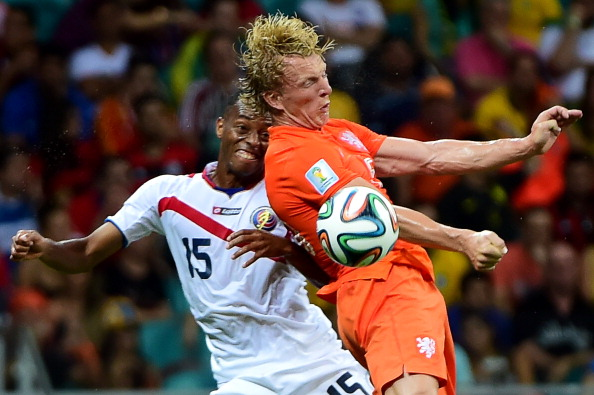 Costa Rica's defender Junior Diaz (L) and Netherlands' forward Jeremain Lens vie during their World Cup Quarter Final match at Arena Fonte Nova on July 5, 2014 in Salvador, Brazil. Photo: Getty Images