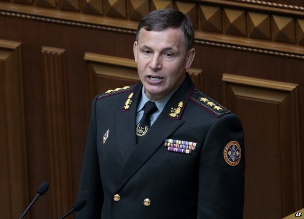 Ukrainian Defence Minister Valeriy Heletey's Crimea pledge was met by applause in parliament. Photo: AP