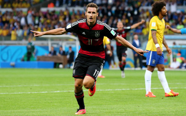 Miroslav Klose of Germany celebrates scoring his team's second goal during the 2014 FIFA World Cup Brazil Semi Final match between Brazil and Germany at Estadio Mineirao on July 8, 2014 in Belo Horizonte, Brazil. Photo: Getty Images
