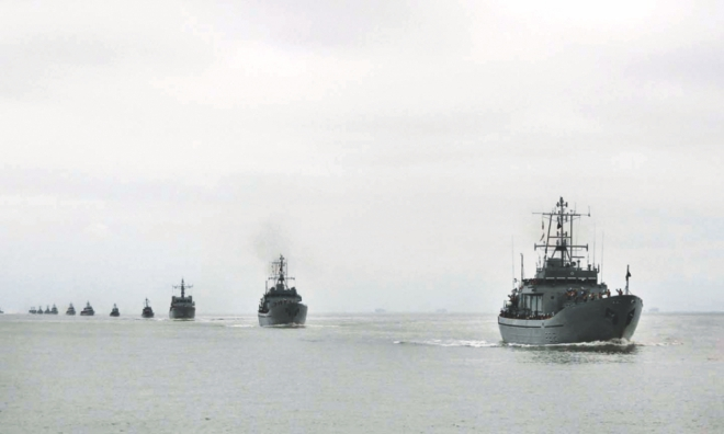 Warships returning to the shore as the 16-day Exercise Sea Thunder 2014 concludes. Photo: Anurup Kanti Das