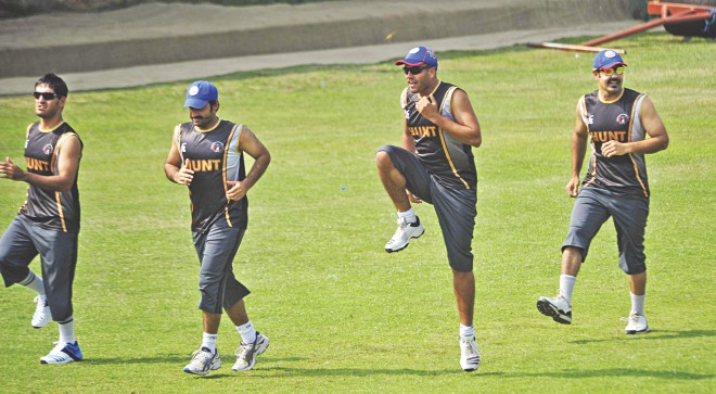 Afghan players limber up at the BCB Academy ground in Mirpur as part of their preparation for a maiden Asia Cup campaign. Photo: Star