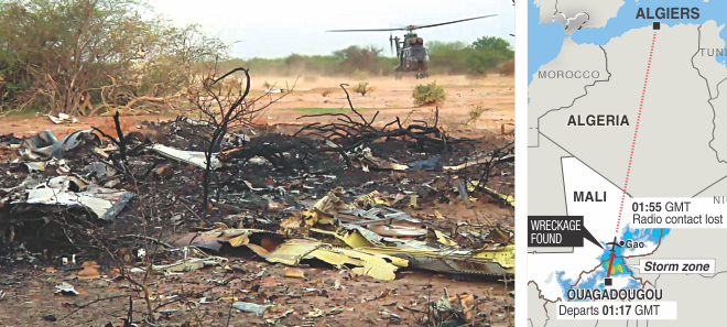 A handout photo released yesterday by ECPAD shows the wreckage of the Air Algerie flight AH5017 which crashed in Mali's Gossi region, west of Gao, on Thursday. France announced there were no survivors among the 118 people on board the Air Algerie flight that crashed over Mali, saying bad weather was the likely cause of the disaster.  Photo: AFP
