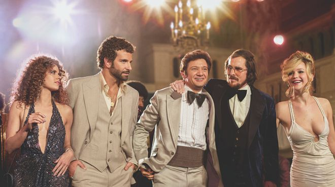 "The heavy weight cast of ""American Hustle"" is pushing its weight on the Oscars."