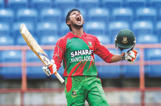 Bangladesh opener Anamul Haque lets out a huge roar after reaching his hundred during the first One Day International against the West Indies at the Grenada National Cricket Stadium in St. George's on Wednesday. Anamul's 109 helped Bangladesh post a challenging score of 217 for nine in 50 overs. PHOTO: AFP